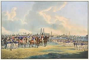 """MÜNCHEN. - Militärparade 1838. """"Große Parade auf"""