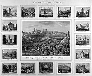 """FREIBURG. """"Fribourg en Suisse"""". Gesamtansicht (19,5 x 26,5 cm), umgeben von 16 ..."""