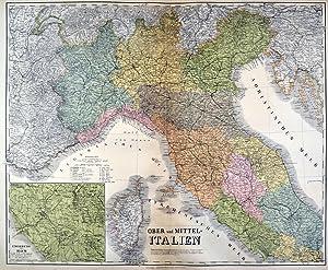 """ITALIEN. - Nord- und Mittelitalien. - Karte. """"Ober und Mittel-Italien"""". Mit Nebenkarte &..."""