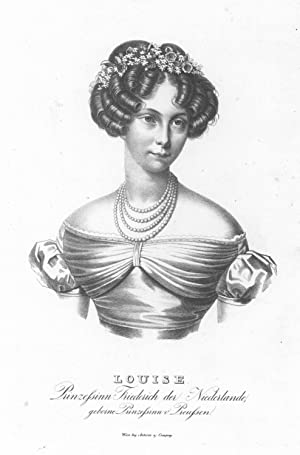 """LUISE, Prinzessin Friedrich der Niederlande (1808 - 1870). """"Louise"""". Halbfigur nach ..."""