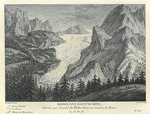 "ROSENLAUIGLETSCHER. ""Roselavi Gletscher, Glacier qui descend du Wetter-horn au Canton de Berne..."