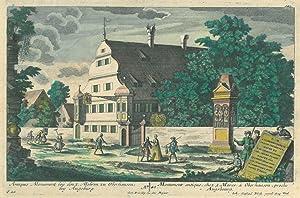 """AUGSBURG. - Oberhausen. """"Antiques Monument bey den 3. Mohren zu Oberhausen, bey Augsburg"""". ..."""