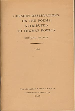 CURSORY OBSERVATIONS ON THE POEMS ATTRIBUTED TO: Malone, Edmond; Ibntroduction