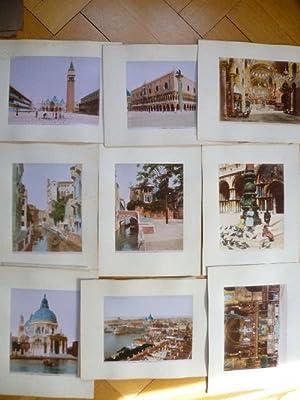 Sammlung von 9 großen altkolorierten, teilübermalten Fotografien aus Venedig. Albumin-Abzüge, auf ...