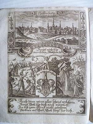 Rastenberg (Rassenburg) bei Weimar. Stadtansicht, darunter Wappen der von Lochau und allegorische ...