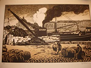 A unique collection of woodcuts and wood-engravings by Rene Pottier, depicting landscapes, towns, ...