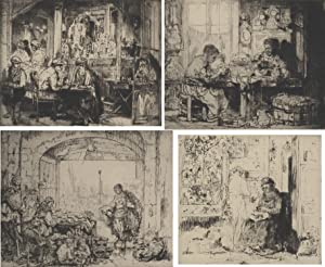 An outstanding collection of TEN ORIGINAL SIGNED AND NUMBERED ETCHINGS by Auguste Brouet: Brouet, ...