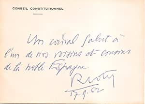 Signed and inscribed card of the Conseil Constitutionnel / Carte du Conseil Constitutionnel, sign...