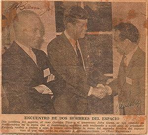 Newpaper photograph signed by astronauts John Glenn: Glenn, John and
