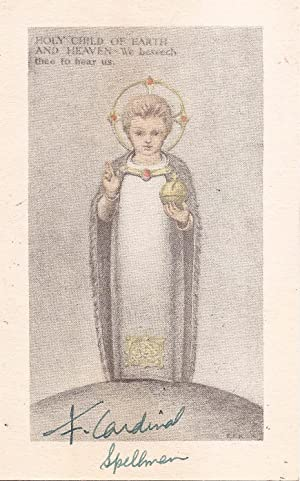 Prayer card signed by Francis Spellman, Cardinal and Archbishop of New York