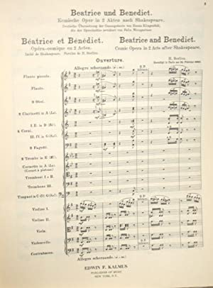 Beatrice and Benedict: Comic Opera in two acts after Shakespeare.: Berlioz, Hector