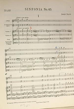 Sinfonia Nr. 65. Herausgegen von H.C. Robbins Landon, Partitur: Haydn, Joseph