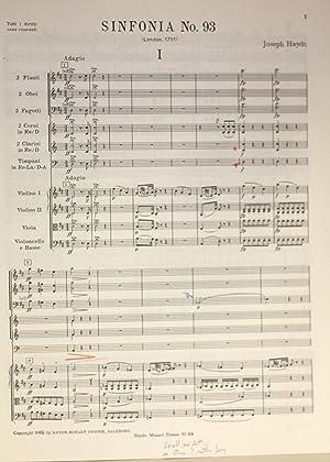Sinfonia Nr. 93. Herausgegen von H.C. Robbins Landon, Partitur: Haydn, Joseph