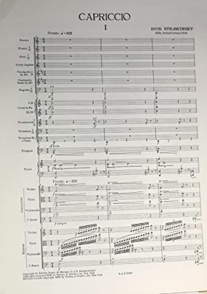 Capriccio; for piano and orchestra, revised 1949 version: Strawinsky [Stravinsky], Igor