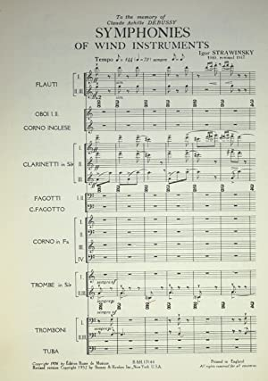 Symphonies of wind instruments.: Strawinsky [Stravinsky], Igor.