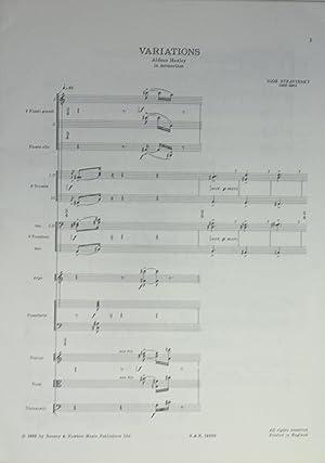 Variations: Aldous Huxley in Memoriam.: Stravinsky, Igor