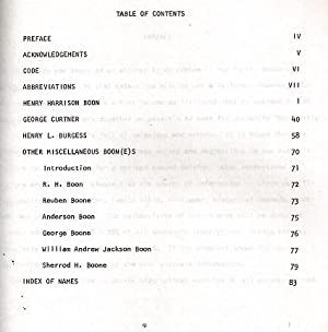 Descendants of Henry Harrison Boon, Including Partial Histories on Curtner and Burgess Famlies: ...