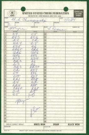 1981 United States Chess Championship and Zonal Qualifier (Score Sheets): Byrne, Robert Eugene (...