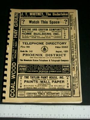 The Mountain States Telephone and Telegraph Company Telephone Directory, Book No. 3-S, August, 1921...