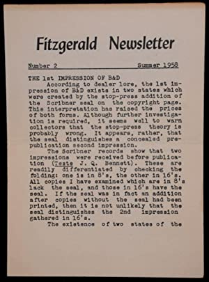FITZGERALD NEWLETTER. NUMBER 2. SUMMER 1958: Matthew J. Bruccoli