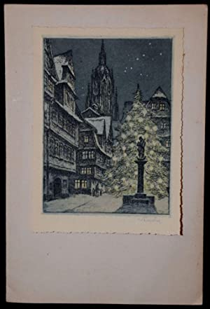 SIGNED ETCHING. CHRISTMAS CARD. FRANKFURT CATHEDRAL: Willi Foerster