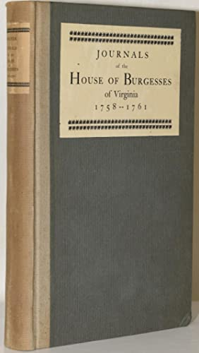 JOURNALS OF THE HOUSE OF BURGESSES OF: H. R. McIlwaine