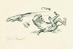 Original signed drawing for The Last Battle. [p. 112, 'The Ape was knocked head over heels by Gin...