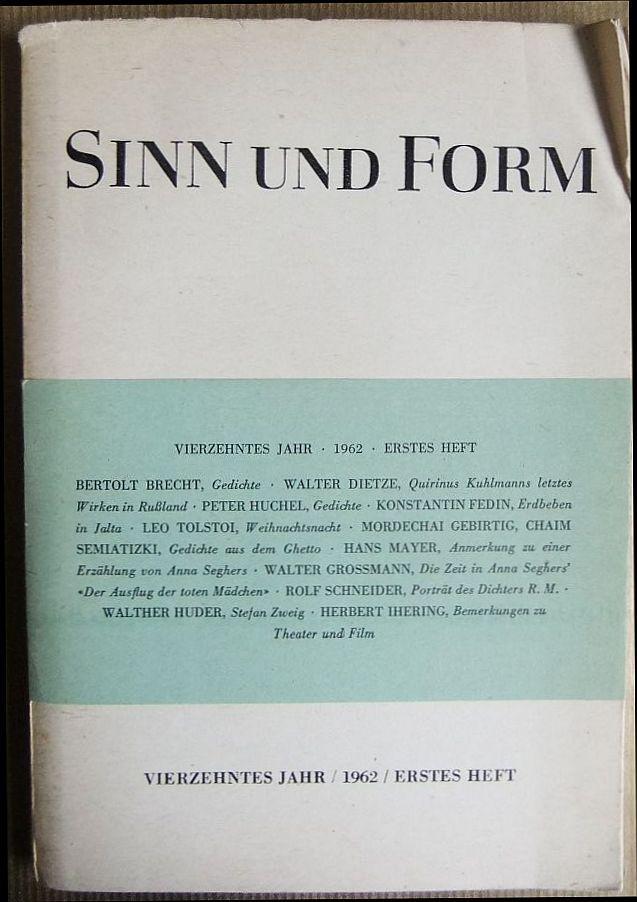 Sinn Und Form Vierzehntes 14 Jahr 1962
