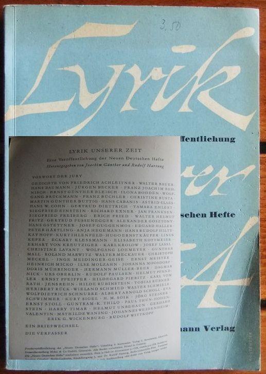 Lyrik unserer Zeit : Eine Veröffentlichung d.: Günther, Joachim und