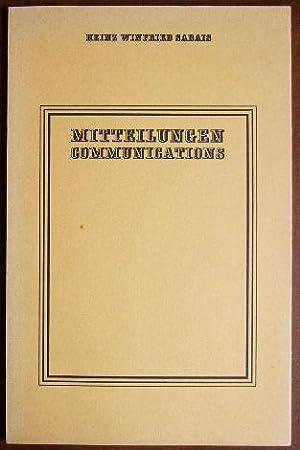 Mitteilungen = Communications. Engl. von Ruth u.: Sabais, Heinz Winfried:
