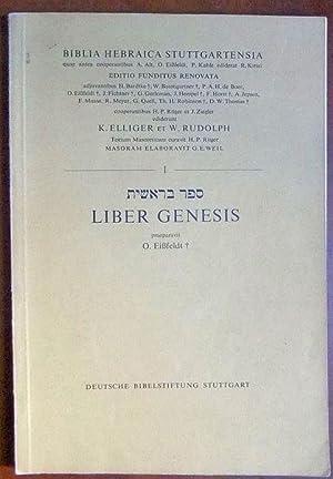 Liber Genesis. Biblia Hebraica Stuttgartensia 1, Ed.: Eißfeldt, O.: