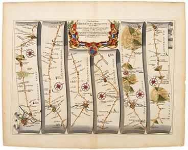 Plate 71: The Road from GLOCESTER to: OGILBY, John.