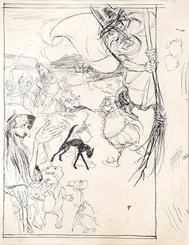 """Original preliminary drawing for Ingoldsby Legends. """"Witches: RACKHAM, Arthur."""