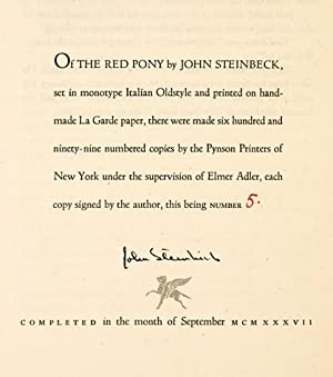 The Red Pony.: STEINBECK, John.