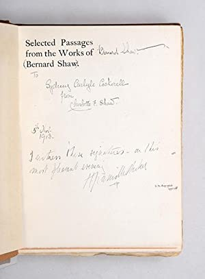 Selected Passages. Chosen by Charlotte F. Shaw.: SHAW, George Bernard.