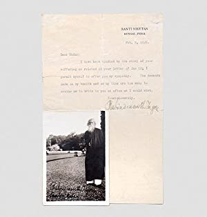 Typed letter signed together with an inscribed: TAGORE, Rabindranath.