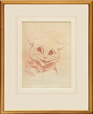 Original drawing of a smiling cat wearing: WAIN, Louis.
