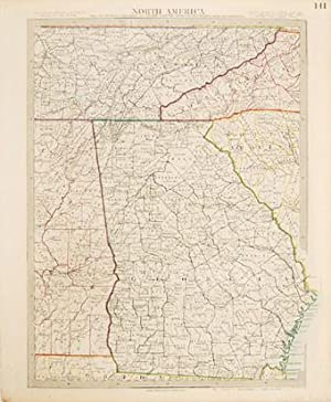 NORTH AMERICA Sheet XII, GEORGIA WITH PARTS OF NORTH & SOUTH CAROLINA, TENNESSEE, ALABAMA &...