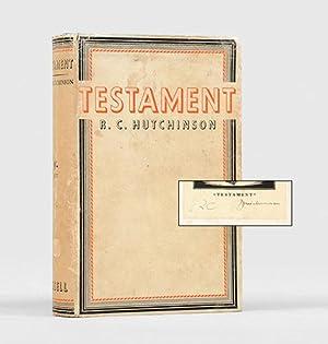 Testament. A Novel.: HUTCHINSON, R. C.