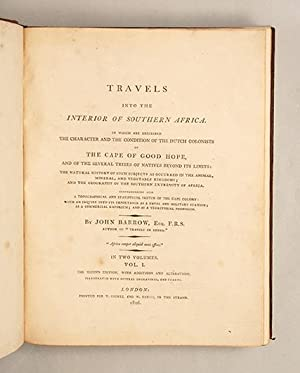 Travels into the Interior of Southern Africa.: BARROW, John.