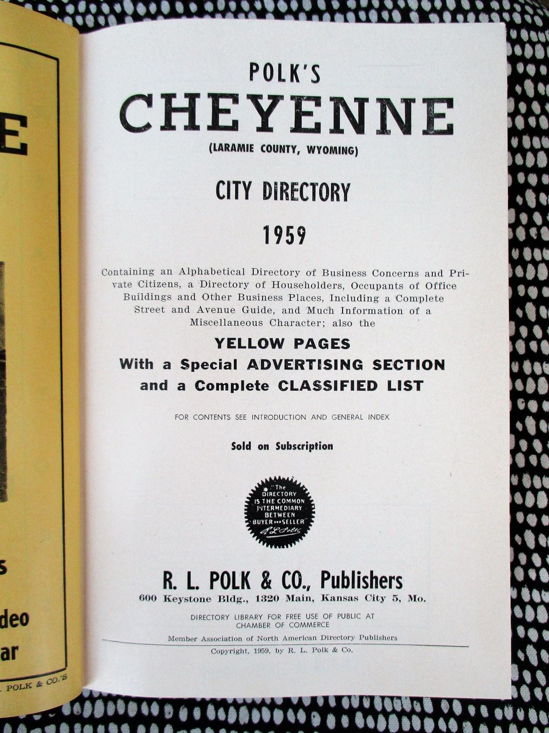 1959 CHEYENNE, WYOMING, CITY DIRECTORY with