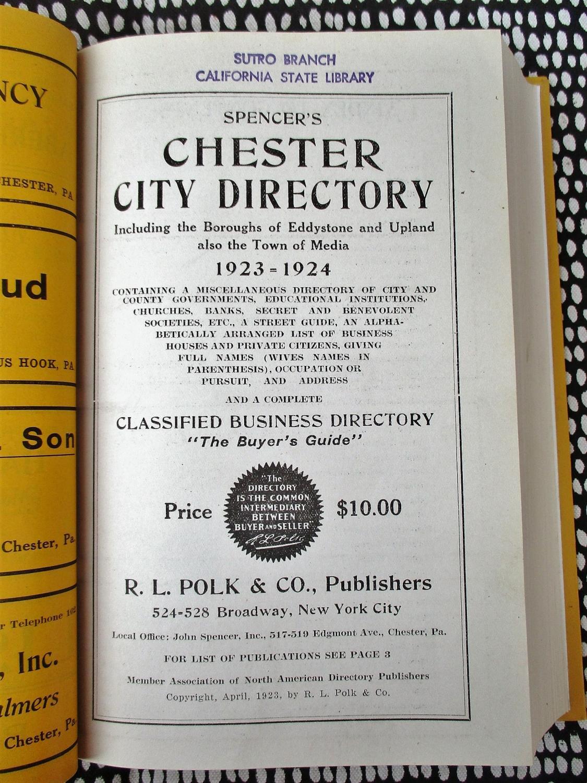 1923 CHESTER & VICINITY Pennsylvania CITY