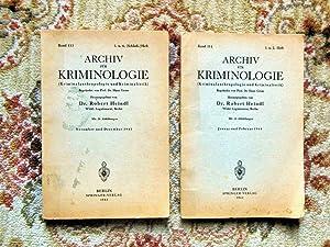 2 GERMAN CRIMINOLOGY BOOKLETS - ARCHIV FÜR KRIMINOLOGIE - Illustrated 1943-1944: Robert Heindl