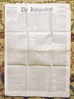 """1862 CIVIL WAR NEWSPAPER """"THE INDEPENDENT"""" BATTLE REPORTS Edited by HENRY WARD BEECHER: ..."""