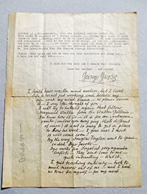 1937 GEORGE GROSZ LETTER SIGNED HANDWRITTEN & TYPED to AMERICAN ARTIST MARSHALL GLASIER re: ...