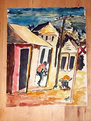HAITIAN ARTIST THONY - ORIGINAL WATERCOLOR PAINTING Lovely Haiti Village Scene: Thony