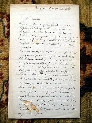 1867 JULES-EMILE PLANCHON HANDWRITTEN LETTER to DR. V.A. SIGNORET, plus two of J.-E. Planchon'...
