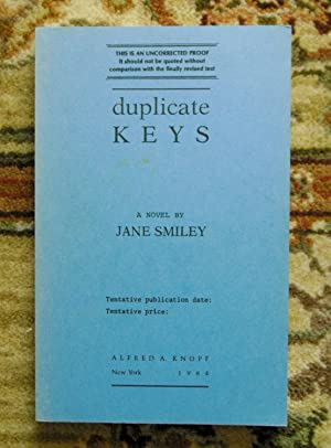 1984 JANE SMILEY - SIGNED UNCORRECTED PROOF COPY of her 3rd Book DUPLICATE KEYS - One of America'...