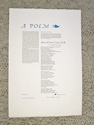 LAURA RIDING JACKSON - POETRY BROADSIDE - SIGNED PUBLISHER'S COPY