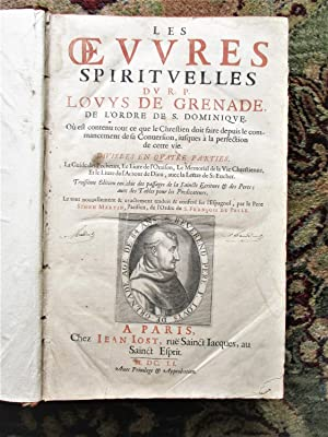 1651 SPIRITUAL WORKS of LOUIS OF GRANADA Oeuvres Spirituelles FOLIO 4 Parts bound in this 1 Volume
